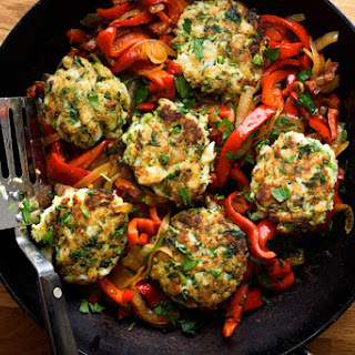 Codfish Cakes With Sweet Peppers and Onions