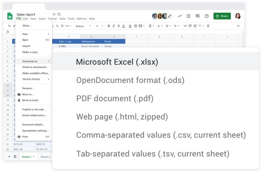Work seamlessly across Sheets and Excel