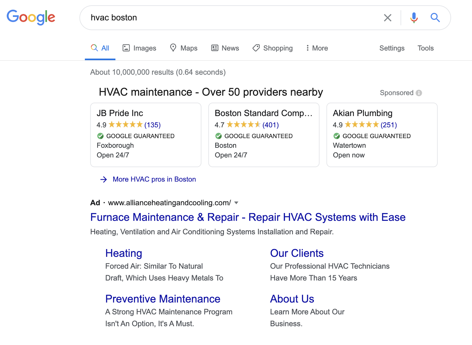 hvac boston google local services ads on serp