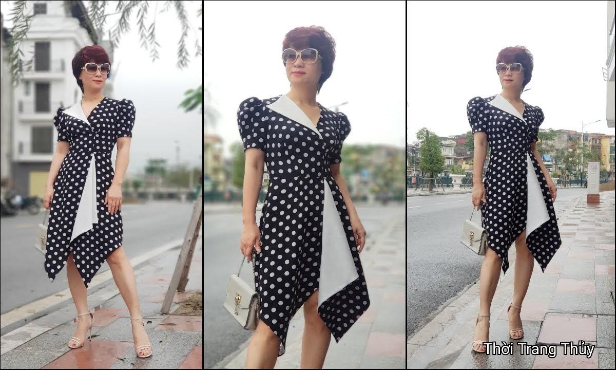 Váy xòe chấm bi công sở và dạo phố màu đen trắng V698 thời trang thủy hải phòng