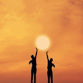 by Adrian  Limani - People Fine Art ( silhouette, sunset, play, game, sun, jump )