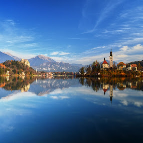 Bled by Mara R. Sirako - Landscapes Travel ( church, slovenia, bled, castle, lake, island,  )