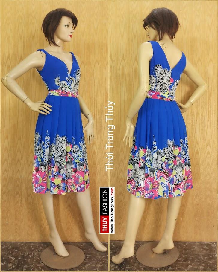 Váy xoè cổ chữ V vạt chéo hoạ tiết hoa V689 thời trang thuỷ hà nội