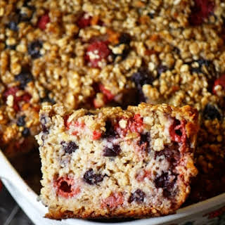 Raspberry-blueberry Healthy Baked Oatmeal.