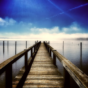 Man on a dock by Sharon Leckbee - Landscapes Waterscapes ( waterscape, docks, landscape )