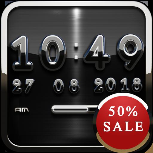 Black D Digital Clock Widget