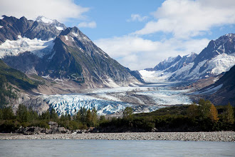 """Photo: Large glacier as seen while on raft trip down the Tashenshini River. The """"Tat"""" flows out of Yukon, CA, through British Columbia and empties into Glacier Bay National Park in Alaska, US."""