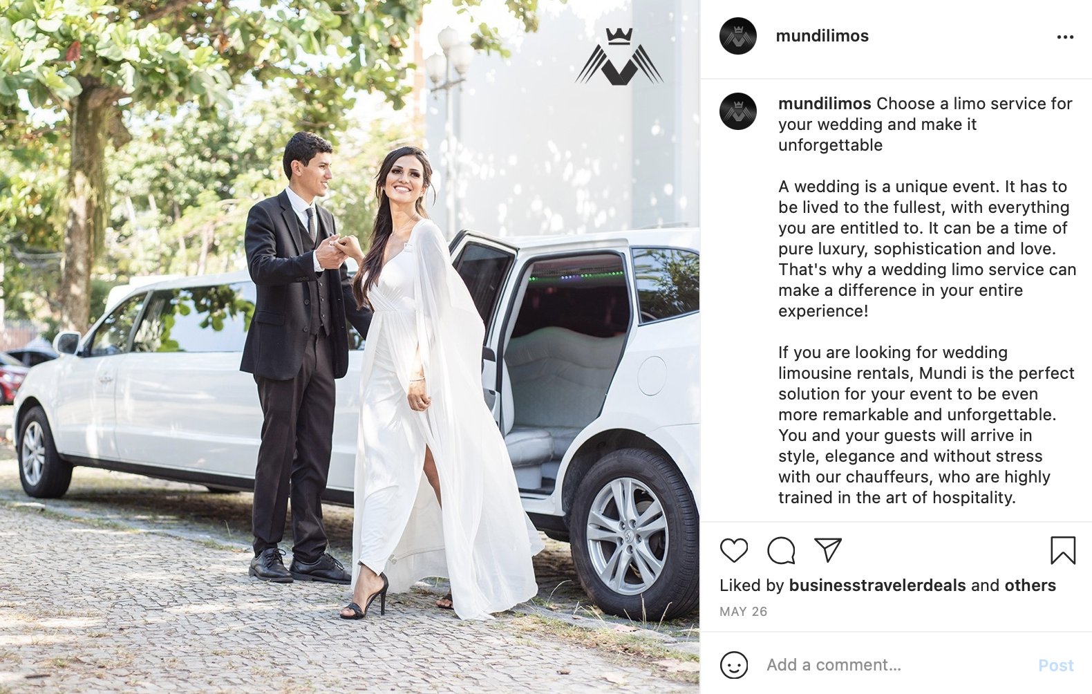 a bride and groom get out of a white limousine