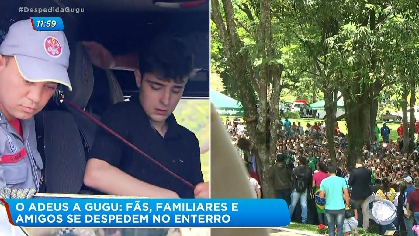 João Augusto Liberato no carro do corpo de bombeiros / multidão esperava a chegada do corpo de Gugu no cemitério