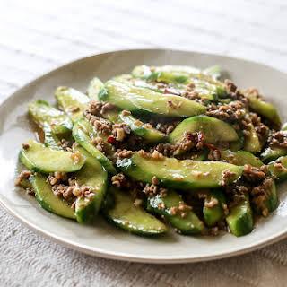 Stir-Fried Cucumbers With Spicy Ground Pork.
