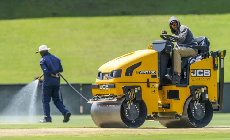 Pitch preparations underway during the South African national men's cricket team training session and press conference at SuperSport Park on January 12, 2018 in Pretoria, South Africa.