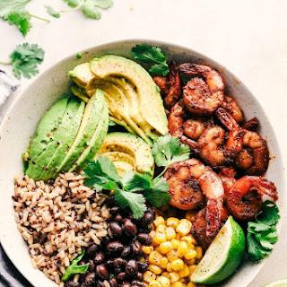 Blackened Shrimp Avocado Burrito Bowls.