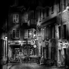 by John Finch - City,  Street & Park  Street Scenes ( cafe, street scene, nightscape, black and white, street photography )