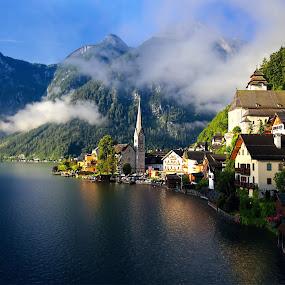 Good morning, Hallstatt by Stefano Landenna - City,  Street & Park  Vistas ( clouds, mountains, church, hallstatt, austria )