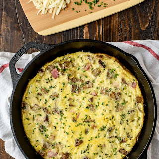 Cheesy Ham and Potato Frittata.