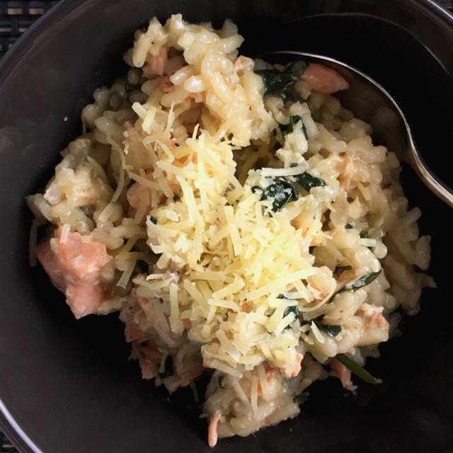 Broiled Salmon Spinach Risotto Recipe