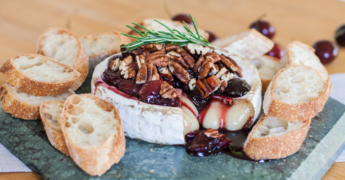 Baked Brie with Honeyed Cherries & Toasted Pecans Recipe
