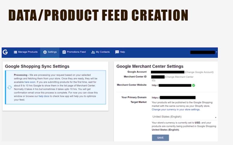 Создание ленты данных/продуктов