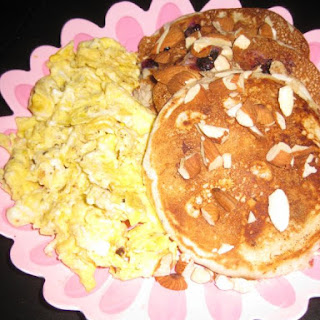 Blueberry Pancakes with Scrambled Eggs