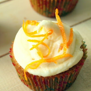 CARROT CUPCAKES WITH APRICOT CREAM CHEESE FROSTING