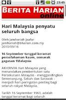 Screenshot of Berita Harian - Malaysia