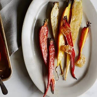 Mixed Colored Carrots with Preserved Lemon Butter and Honeycomb.