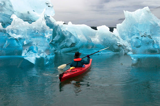 Lindblad-Expeditions-Alaska-Kayaking.jpg - Kayak the beautiful waters of Tracy Arm Fjord, Alaska, on a Lindblad expedition.