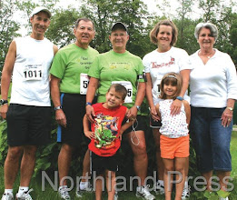 Photo: The Shalom Shores Running Team of Outing (l-r): Eric Spieler, Milt Spieler, Peggy Parks, Vicki Spieler, Pat Sandquist, front: Brooke and Riley Spieler. This is the fifth year the family has participated in the Outing Fun Run/Walk to together.- photo by Joanne Boblett
