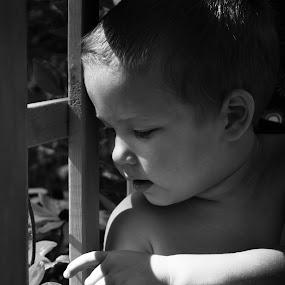 Curiosity  by Ellason Boyle - Babies & Children Child Portraits ( looking, babies, curiosity, white, children, christopher, black, flower )