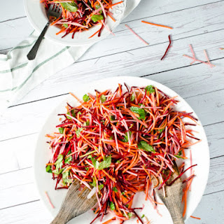 Carrot Beet and Apple Salad with Mint and Cumin Vinaigrette.