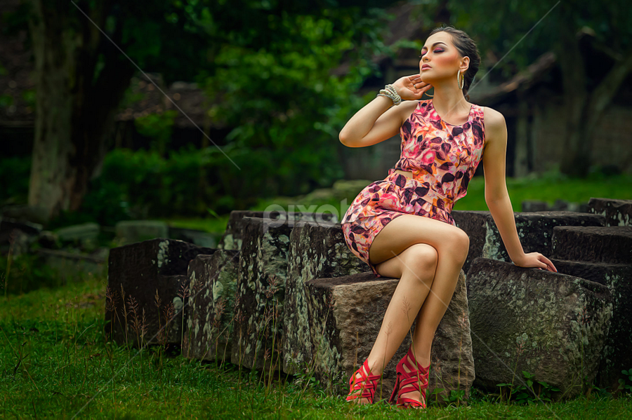 Girl on the Stone... by Sony Harsono - People Portraits of Women ( women, lady, red )