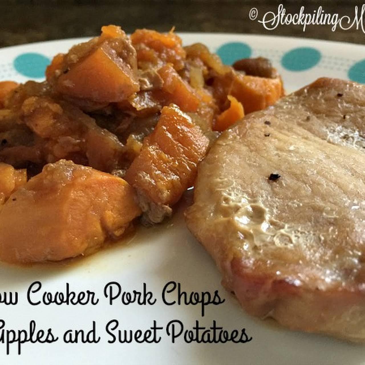 pork chop sweet potato crock pot recipe Slow Cooker Pork Chops With Apples and Sweet Potatoes