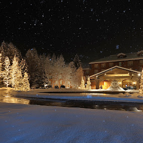 Sun Valley Lodge by Tory Taglio - Landscapes Weather ( idaho, winter, tory taglio, twilight, snow, pwcstorm, sun valley )