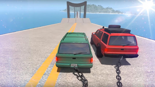 Chained Cars Against Ramp 3D  captures d'u00e9cran 1