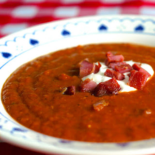 Roasted Squash Soup with Smoked Ham.