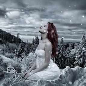 Loving Winter... by Ilkgul Caylak - Digital Art Things ( cool, edited, clouds, beautiful, nice, dramatic sky, photography, photooftheday, amazing, winter, girl, sky, awesome, woman, dramatic, editoftheday, photo editing, photoshop )