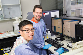 Photo: Dr Sung Kai Chui (PhD student) with Dr Cedric Tremblay (Research Officer) Lab link: http://www.acbd.monash.org/research/stem-cell.html