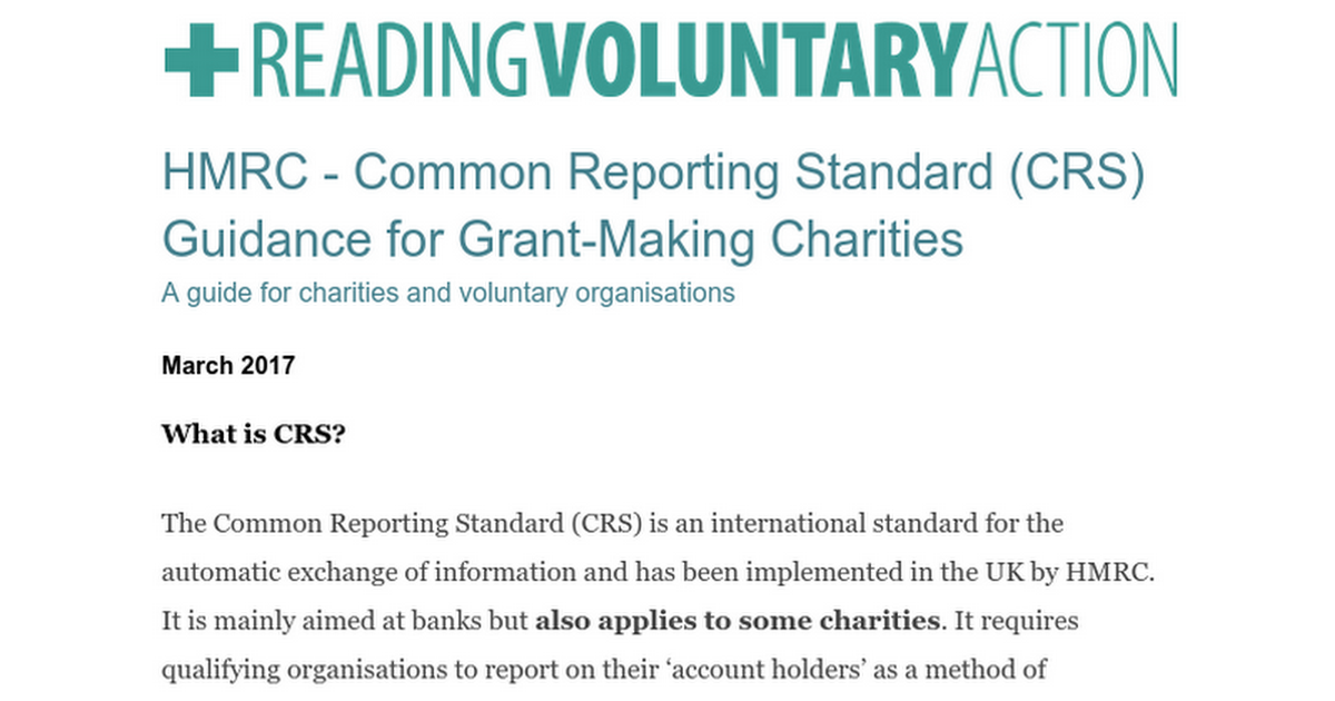 HMRC - Common Reporting Standards - Google Docs
