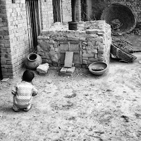 Where is the cat? by Muhammad Gujjar - Black & White Street & Candid ( girl, village, black and white, baby,  )