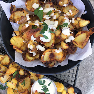 Oven Baked Super Crispy Potato Skins with Homemade Ranch Recipe