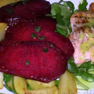 Grilled Salmon With A Wasabi Dressing, Baked Potaoes, Balsamic & Fresh Oregano Marina