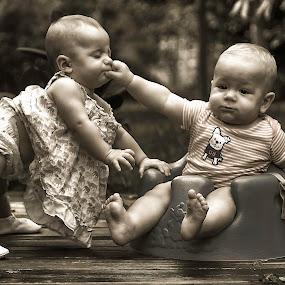 Stop Talking!!! by Nemanja Stanisic - Babies & Children Babies ( babies, sepia, munchkins, children, kids, pwcsummerfun, twins,  )