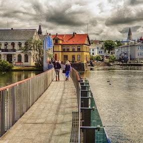 Old Town by Richard Michael Lingo - City,  Street & Park  Street Scenes ( iceland, europe, reyjkavik, travel, landscape )