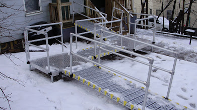 Photo: Aluminum handrails will not rust or corrode in snow or rain.