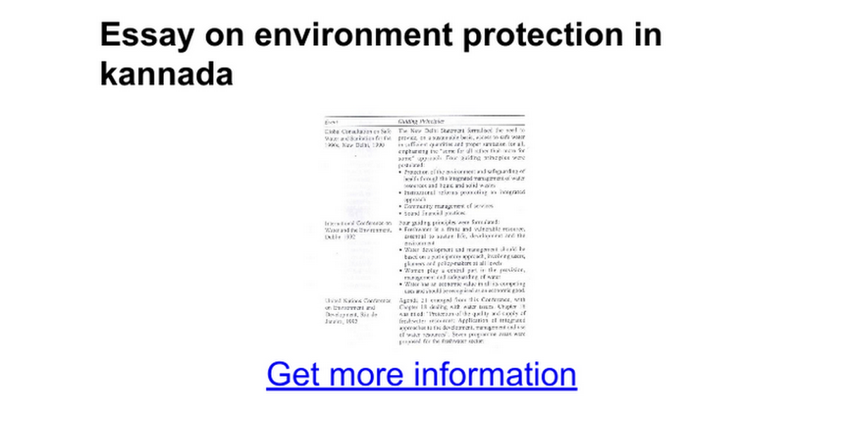 essay on environment protection in kannada google docs