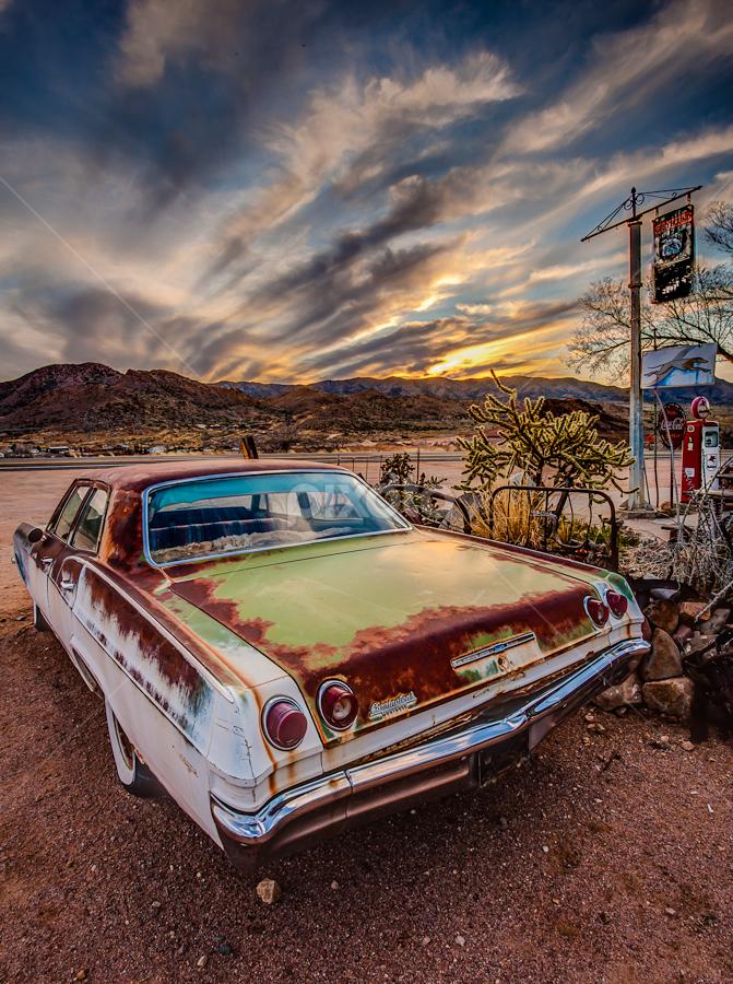 Hackberry AZ Sunset by Glenn Taylor - Transportation Automobiles