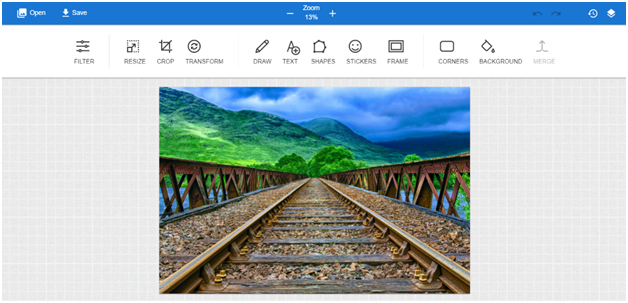 Canvas prints photo editor main menu