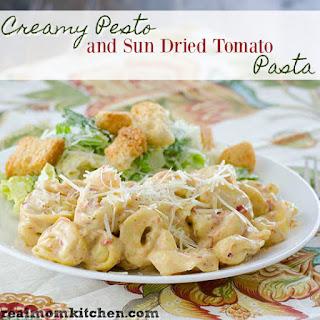 Creamy Pesto and Sun Dried Tomato Pasta.