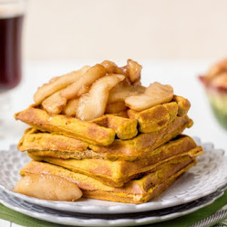 Pumpkin Waffles with Spiced Apples (nut-free)