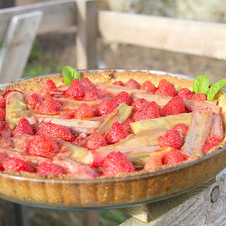 Strawberry Rhubarb Tart with Sesame Almond Crust
